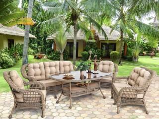 Комплект мебели (Диван трехместный + двухместный диван + 2 кресла + стол) SW1427-F (907844)