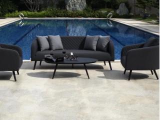 Комплект мебели (Диван трехместный + 2 кресла + 1 стол) LV-SF-1810S SET Цвет: Черный