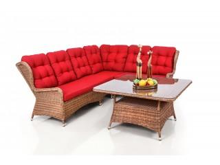Комплект садовой мебели 05715 Цвет: Коричневый (2 Дивана 2х местных + 1 Кресло угловое + 1 Кресло + Стол)
