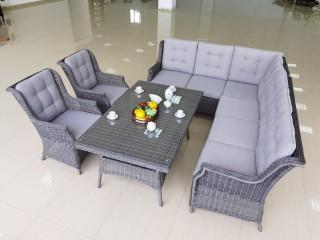 Комплект мебели 1605 Цвет: Серый (Диван 3х местный + Диван 3х местный + 2 Кресла + Стол)