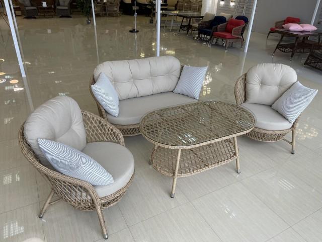 Комплект мебели ZAKKUM PLUS  (Диван 2х местный + 2 Кресла + Стол (Стекло))