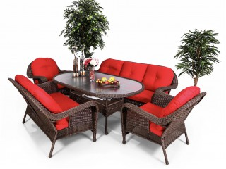 Комплект мебели (Диван трехместный + двухместный диван + 2 кресла + стол) А-1389 А-1409 А-1388 Т-259